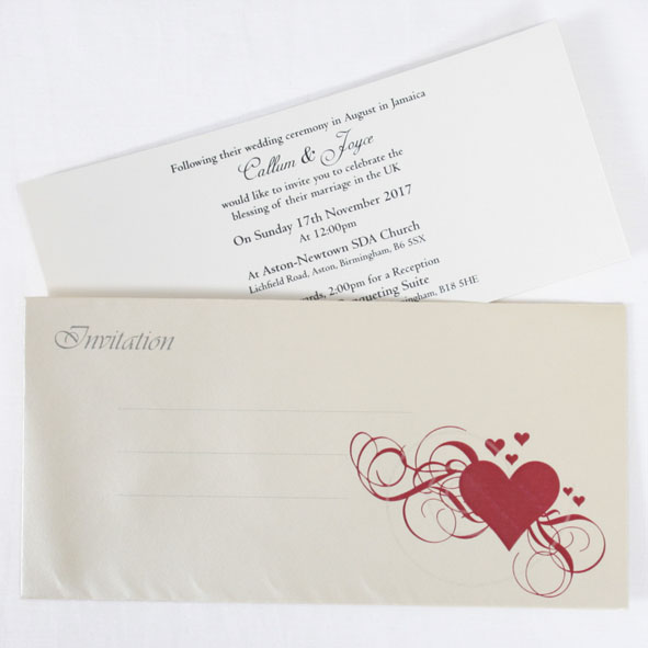 Heart Invitation Inserts And Envelopes Only Wedding Cards Direct